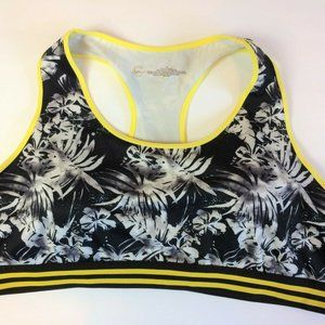 C Active Black Yellow Palm Tree Sports Bra 2X